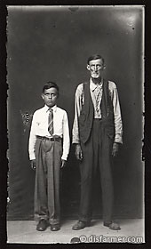 Man and Boy with Arms at Sides