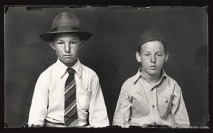 Two Young Boys, in a Fedora and a Garrison Cap
